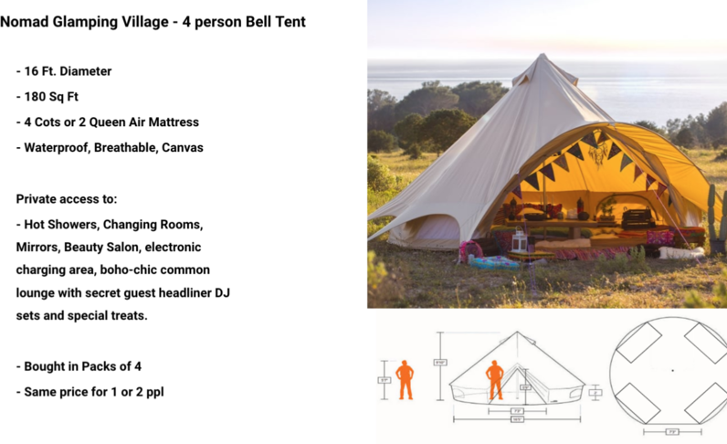 Nomad Glamping Village - 4 Person - (Price per person) - Tier 2