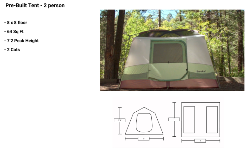 Standard Pre-Built Tent - 2 Person - Glamping Area