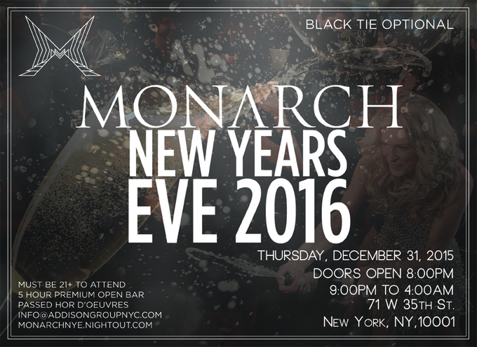 Monarch Rooftop & Lounge NYE Celebration 2016 - Tickets ...