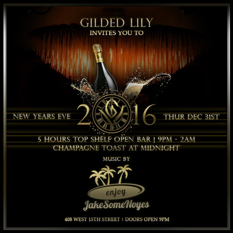 New Year's Eve 2016 at GILDED LILY