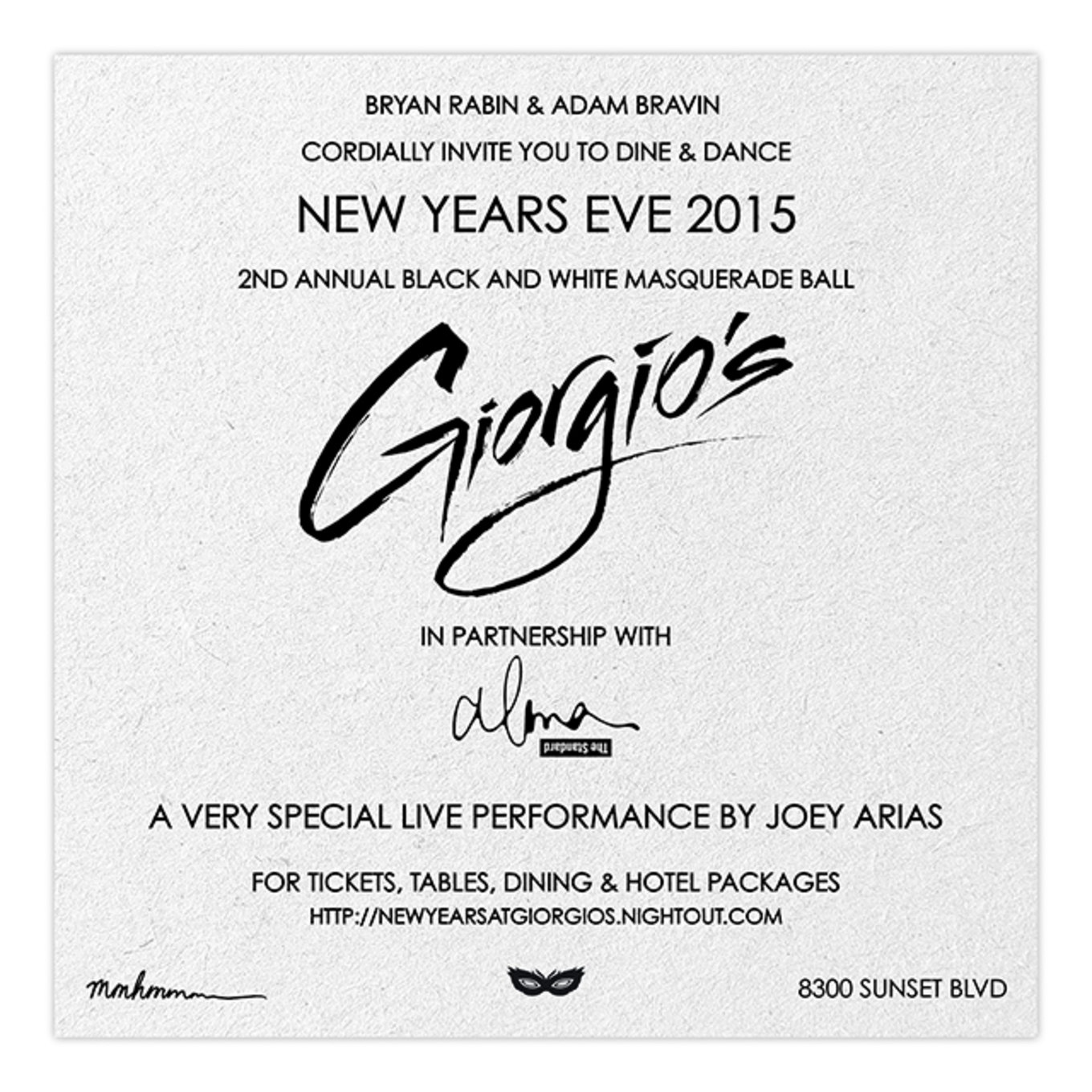 bryan rabin and adam bravin present the 2nd annual new years eve black white masquerade ball at the legendary giorgios with a performance by joey arias