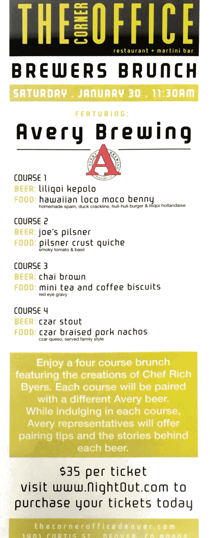 The Corner Office Restaurant & Martini Bar Brewers Brunch featuring Avery Brewing Company
