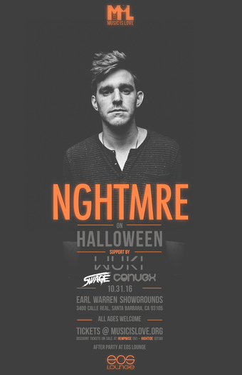 NGHTMRE on Halloween at Earl Warren Show Grounds 10.31.16