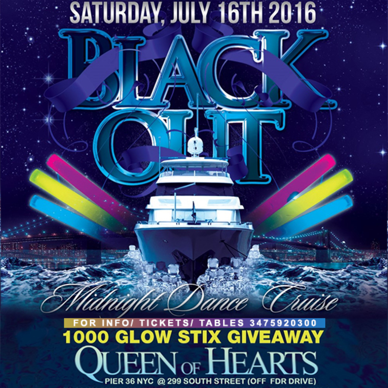 Nyc Boat Party Midnight Glow In The Dark Cruise Queen Of Hearts Pier