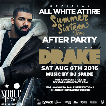 Drake's Official Summer Sixteen Tour After Party at Space Ibiza NY