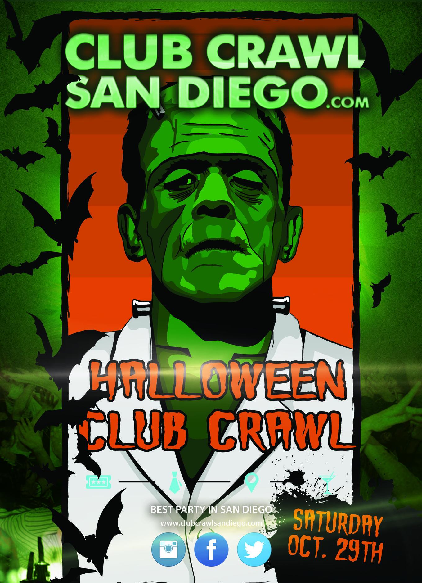 HALLOWEEN CLUB CRAWL TO BASSMNT - Tickets - Analog bar, San Diego ...