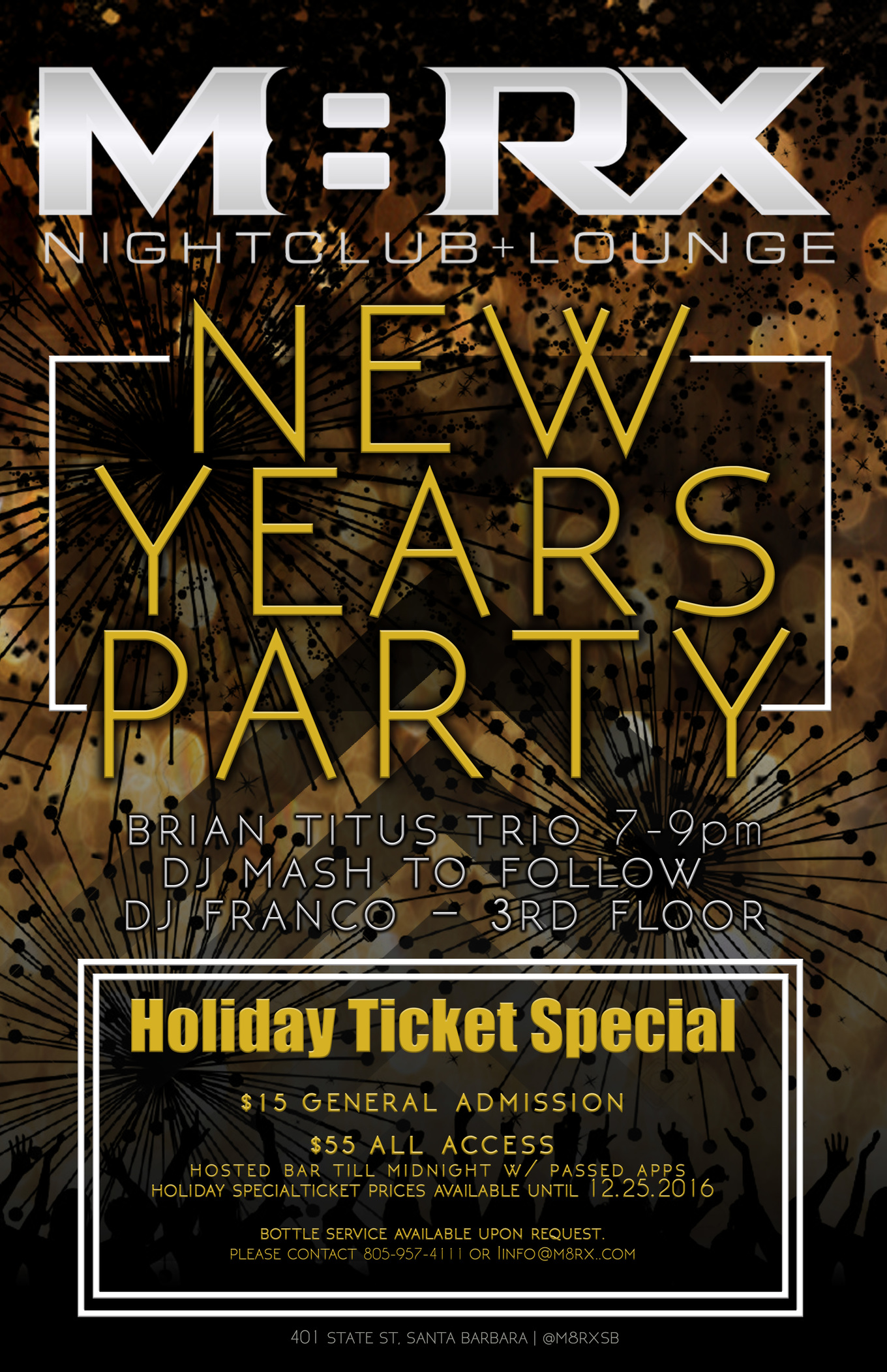 NYE 2017 at M8RX Nightclub and Lounge - Tickets - M8RX Nightclub and