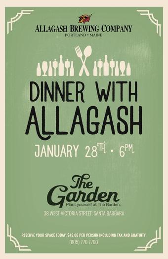Allagash Beer Dinner @ The Garden