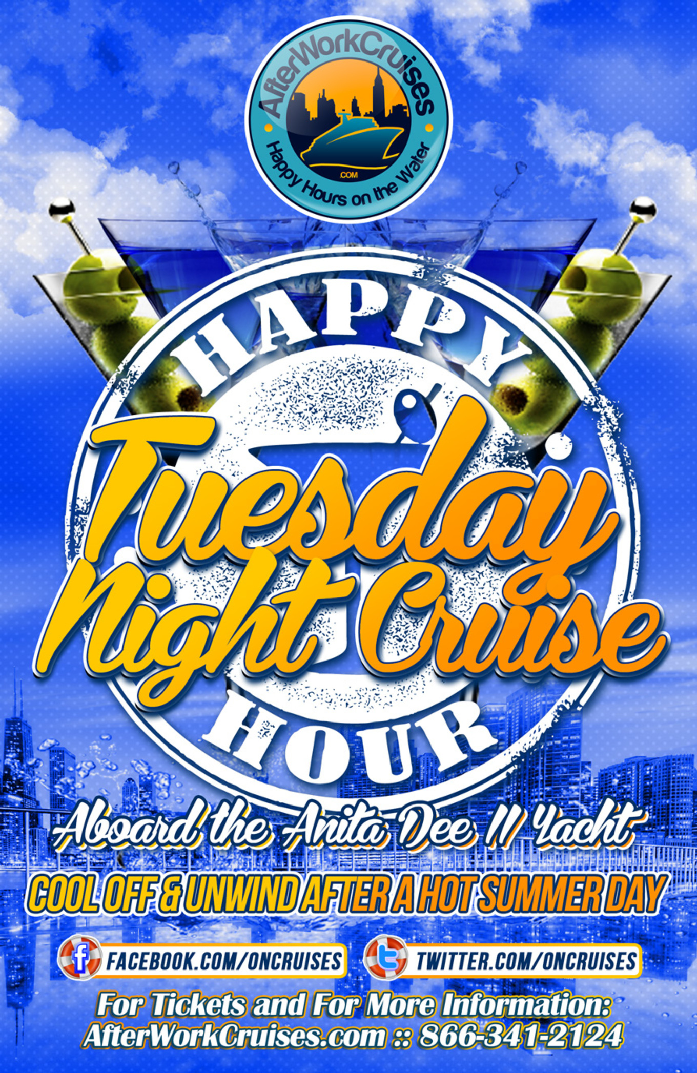 Tuesday Night Happy Hour Cruise Aboard the Anita Dee II Yacht ...