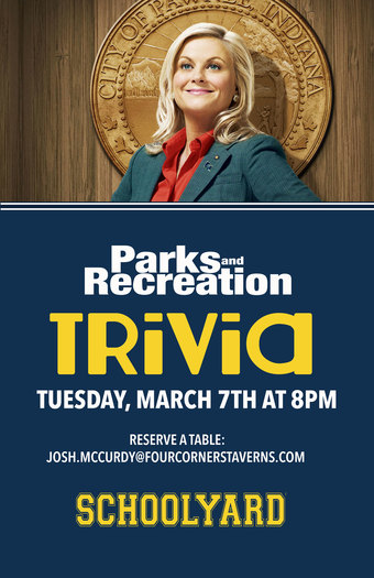 Parks & Recreation Trivia on March 7th at Schoolyard