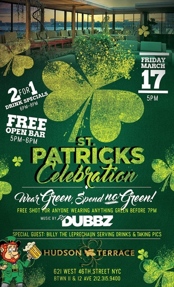 3/17 - St Patrick's Day Party w/FREE OPEN BAR, LEPRECHAUN Serving Drinks! & 2 for 1 Cocktails! - FREE ADMISSION!