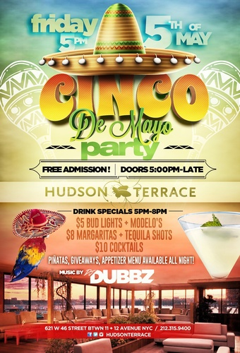 5/5 CINCO DE MAYO ROOFTOP PARTY - 3 ROOMS - LIVE DJ - FREE DRINKS!