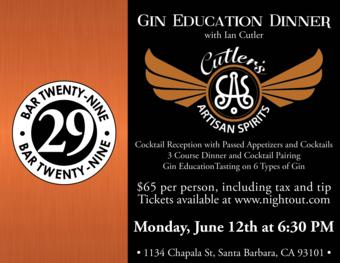 Cutler's Artisan Spirits Gin Education Dinner