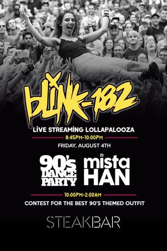Live Streaming of Blink 182 from Lollapalooza at SteakBar