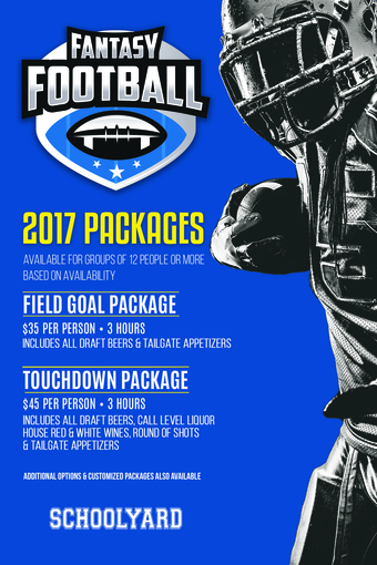 Schoolyard's 2017 Fantasy Football Packages