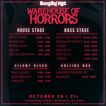 BangOn!NYC Halloween 'Warehouse of Horrors' 2017 ft Fatboy Slim