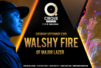 Walshy Fire of Major Lazer @ Highline Ballroom 9/23