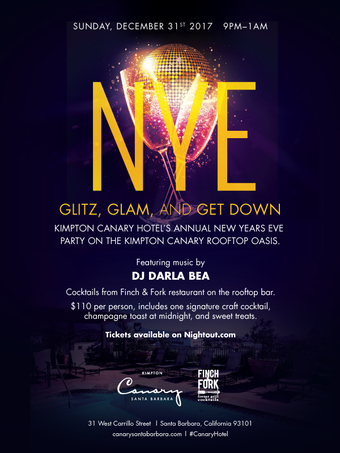 *EVENT POSTPONED* Kimpton Canary Hotel New Year's Eve Rooftop 2018 featuring DJ Darla Bea: Glitz, Glam and Get Down!