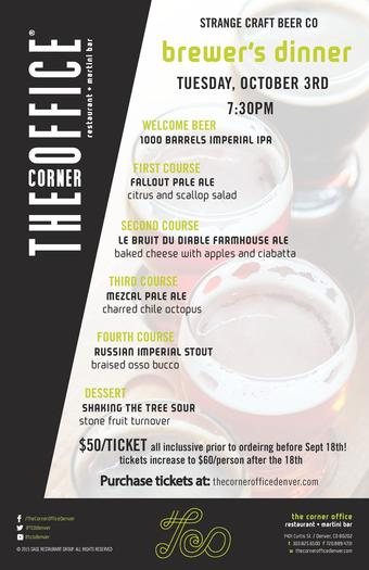 Brewers Dinner w/ The Corner Office & STRANGE Craft Beer Company