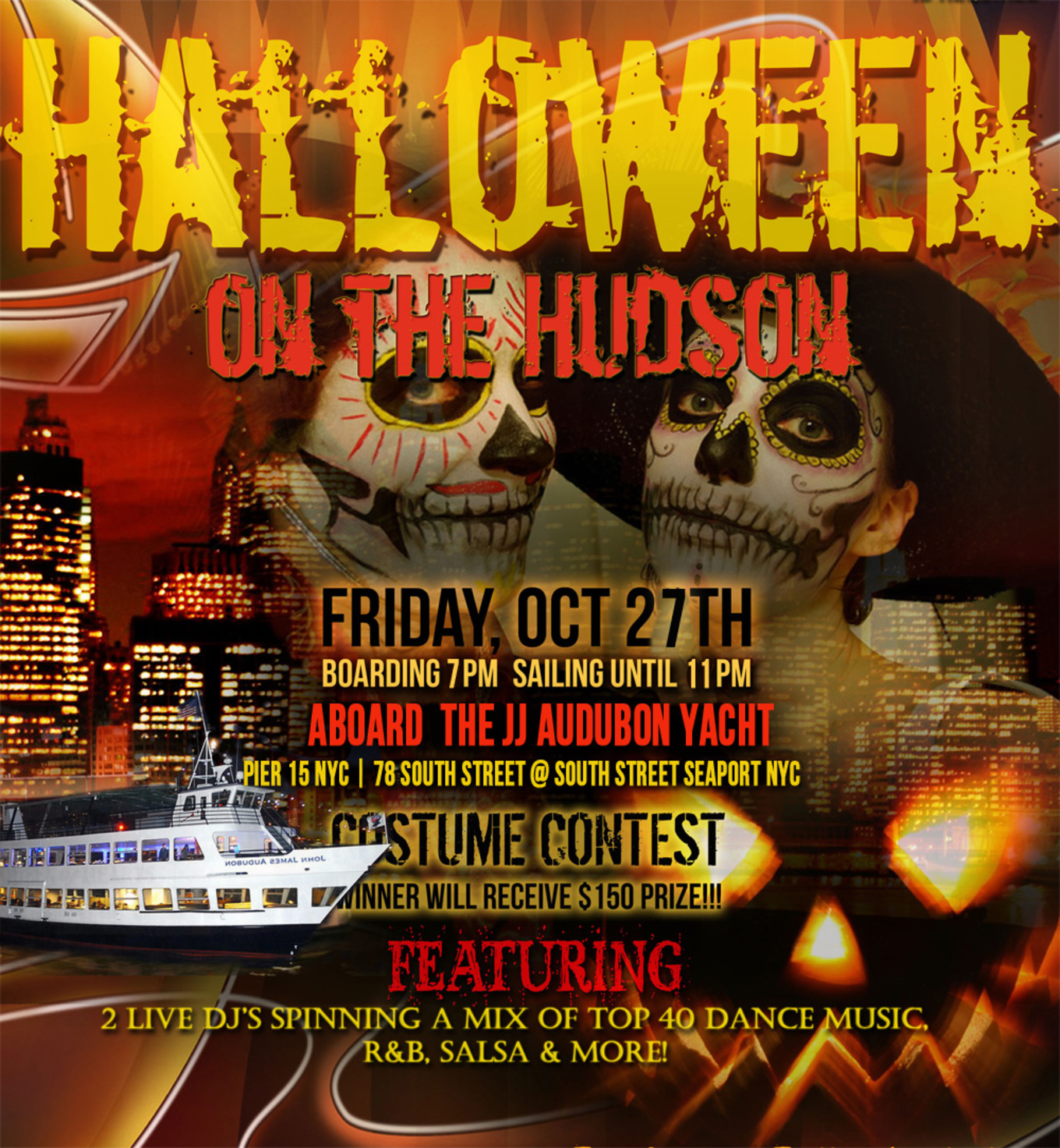 Halloween Boat Cruise | Halloween On The Hudson Dance Cruise Nyc Boat Party South Street