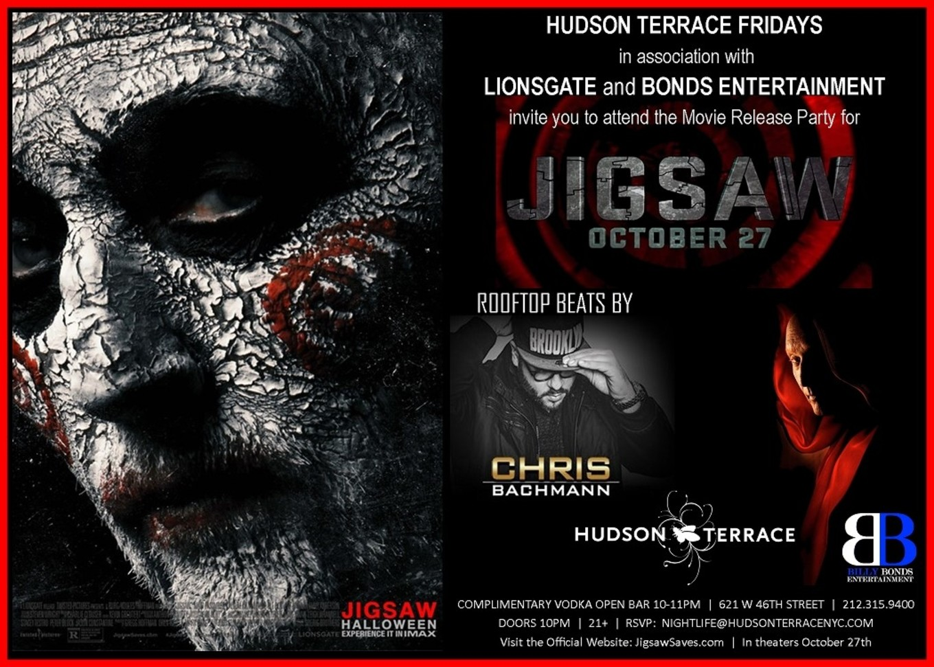 Jigsaw movie release party at hudson terrace halloween for Movie schedule terraces