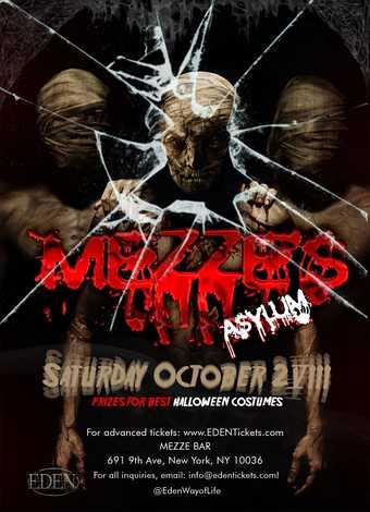 Mezze's Asylum Halloween Saturday at Mezze Bar NYC