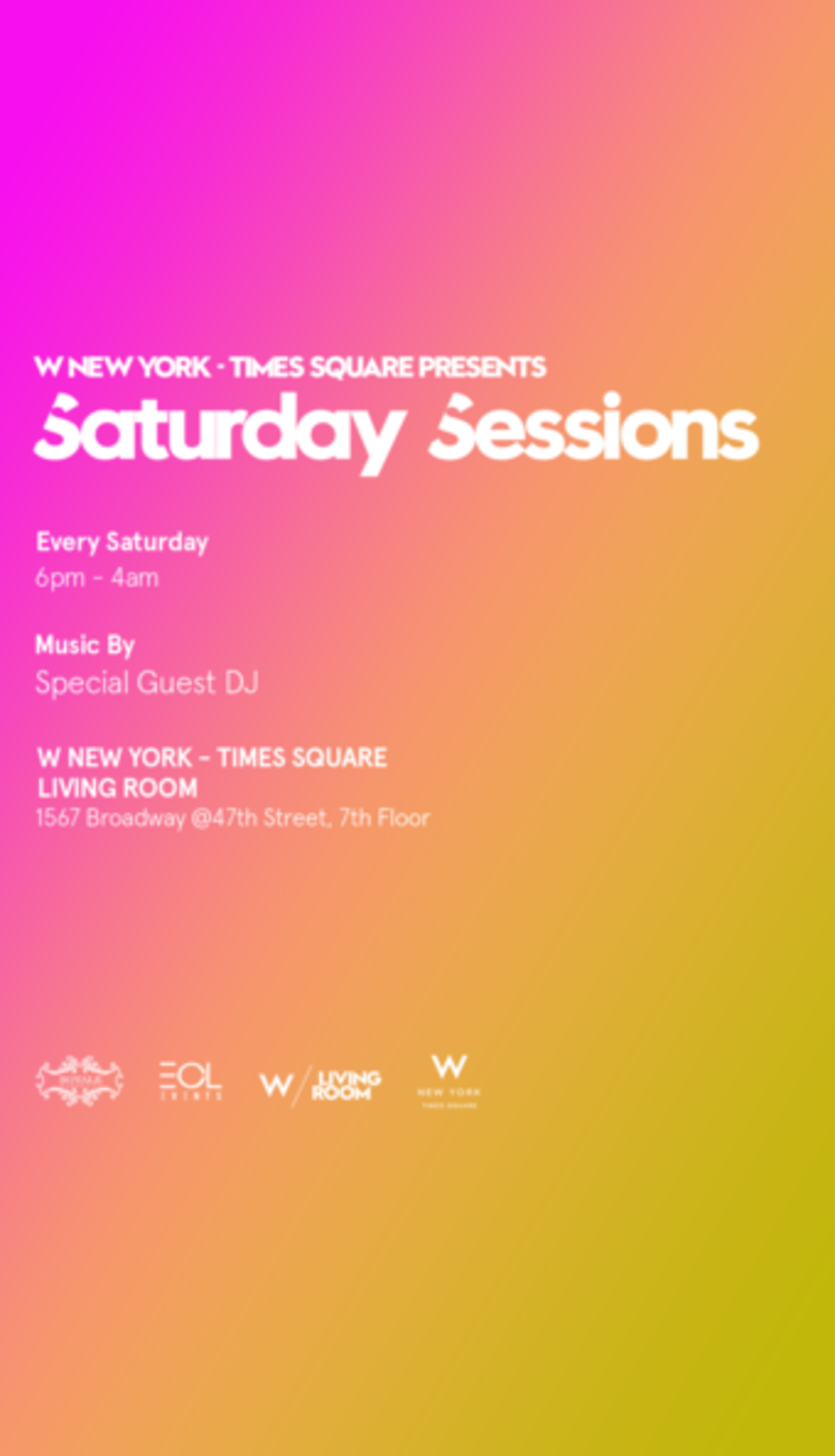 Saturdays the living room at w hotel times square - The living room at the w union square ...