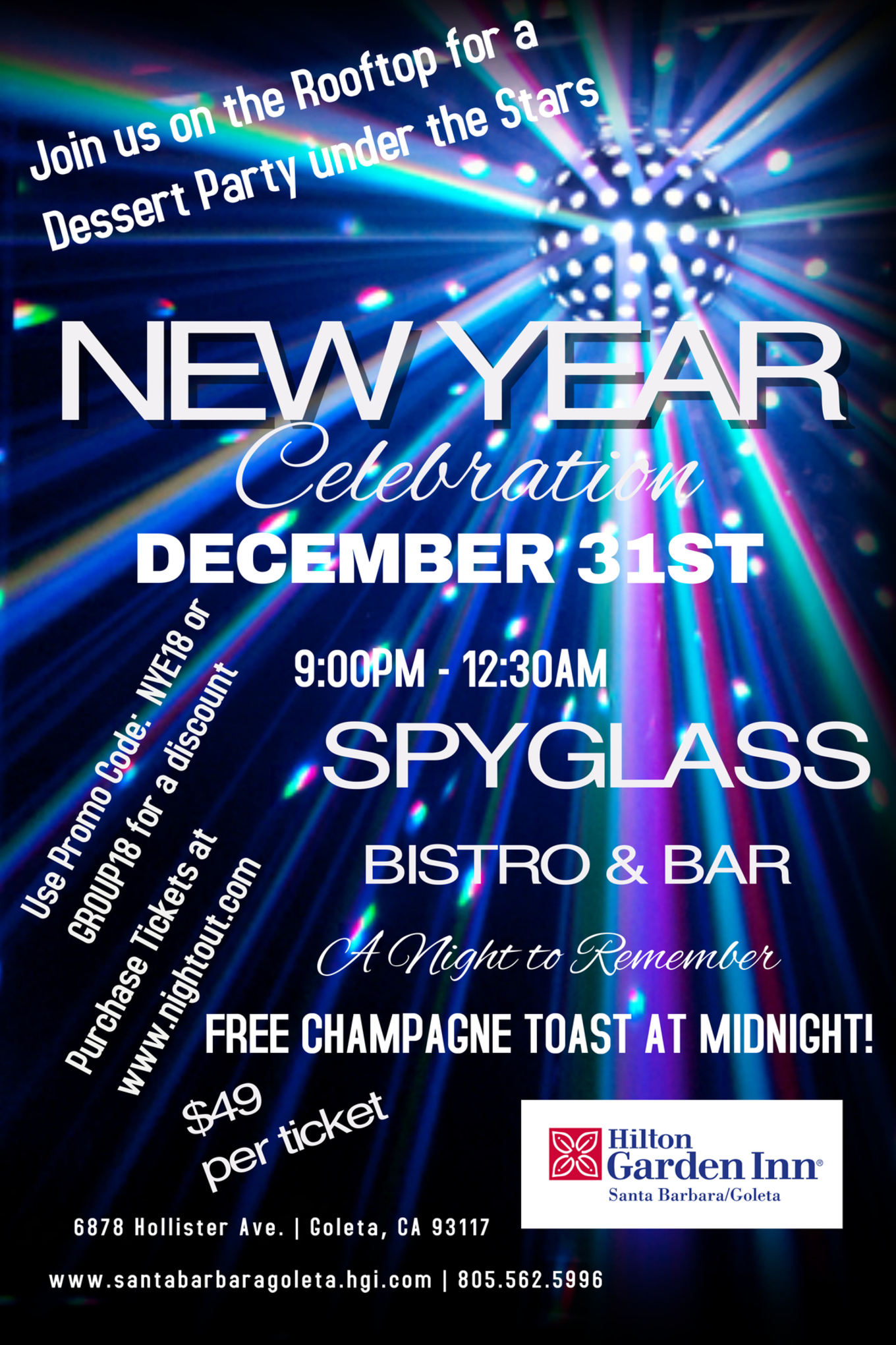 SPYGLASS BISTRO U0026 BAR NEW YEARu0027S EVE PARTY   Celebrate On The Rooftop Of  The Hilton