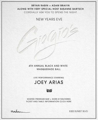 Bryan Rabin + Adam Bravin present Giorgio's 4th Annual Black & White Masquerade Ball