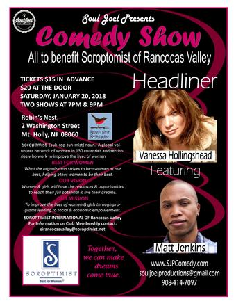 Mount Holly:  2 Comedy Shows to Benefit Soroptimist of Rancocas Valley