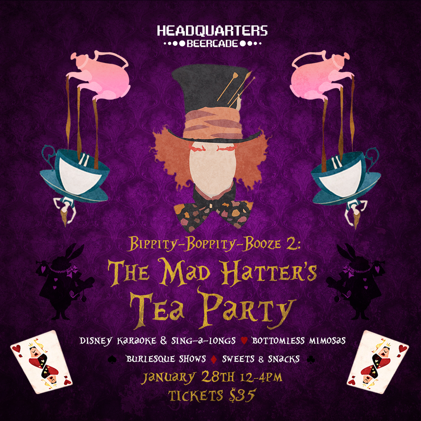 The Mad Hatter S Tea Party Tickets Headquarters Beercade River North Chicago Il January 28 2018