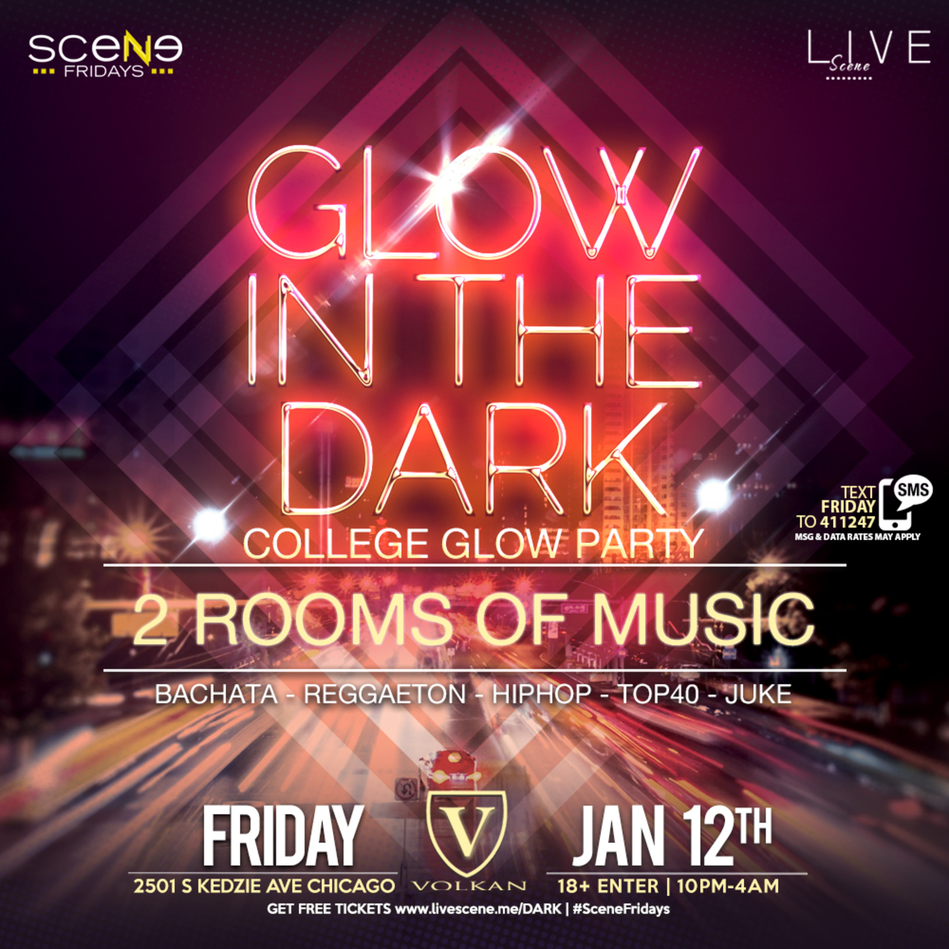 glow in the dark glow party 18 tickets volkan nightclub chicago il january 12 2018. Black Bedroom Furniture Sets. Home Design Ideas