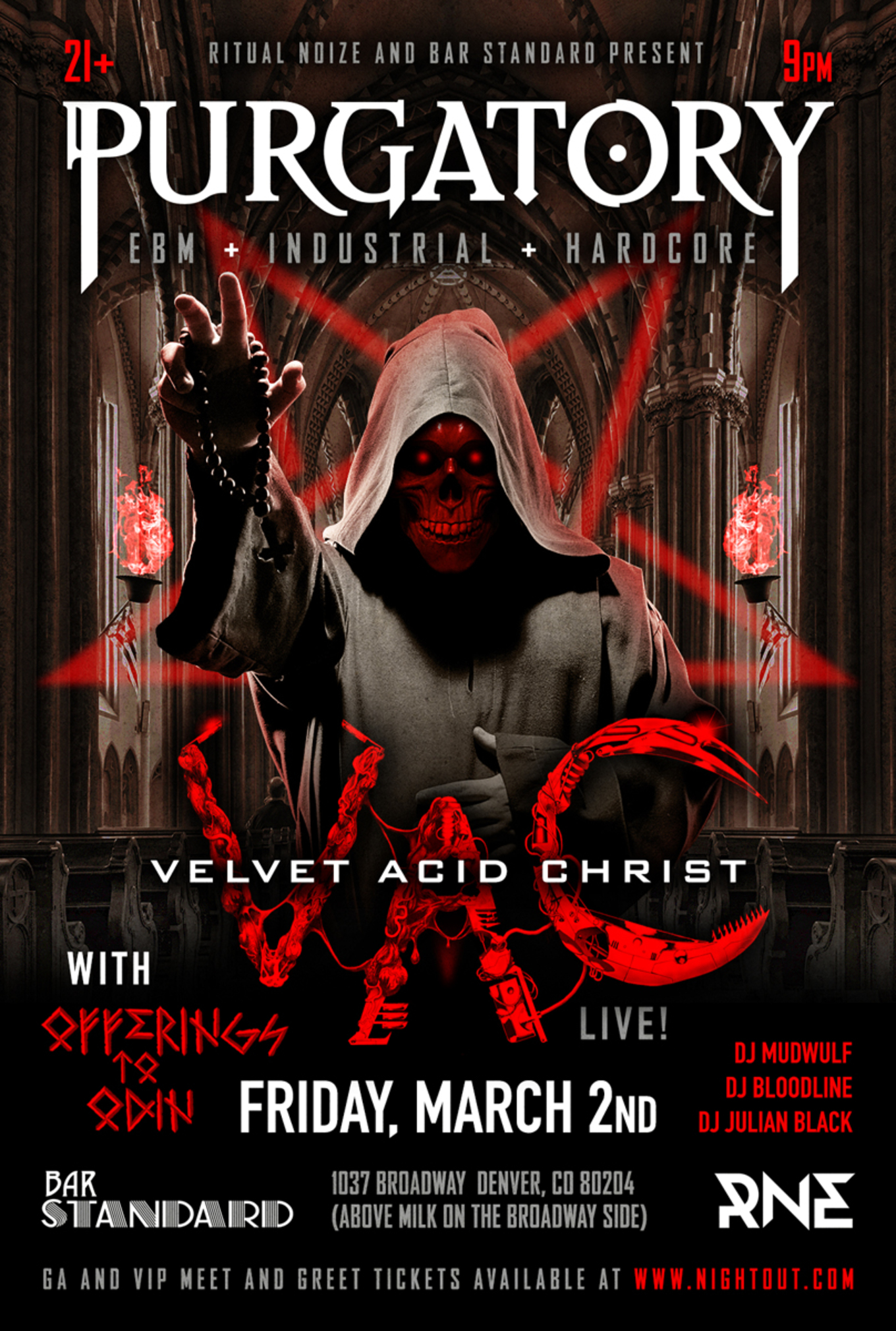 Velvet Acid Christ Tickets Bar Standard Denver Co March 2 2018