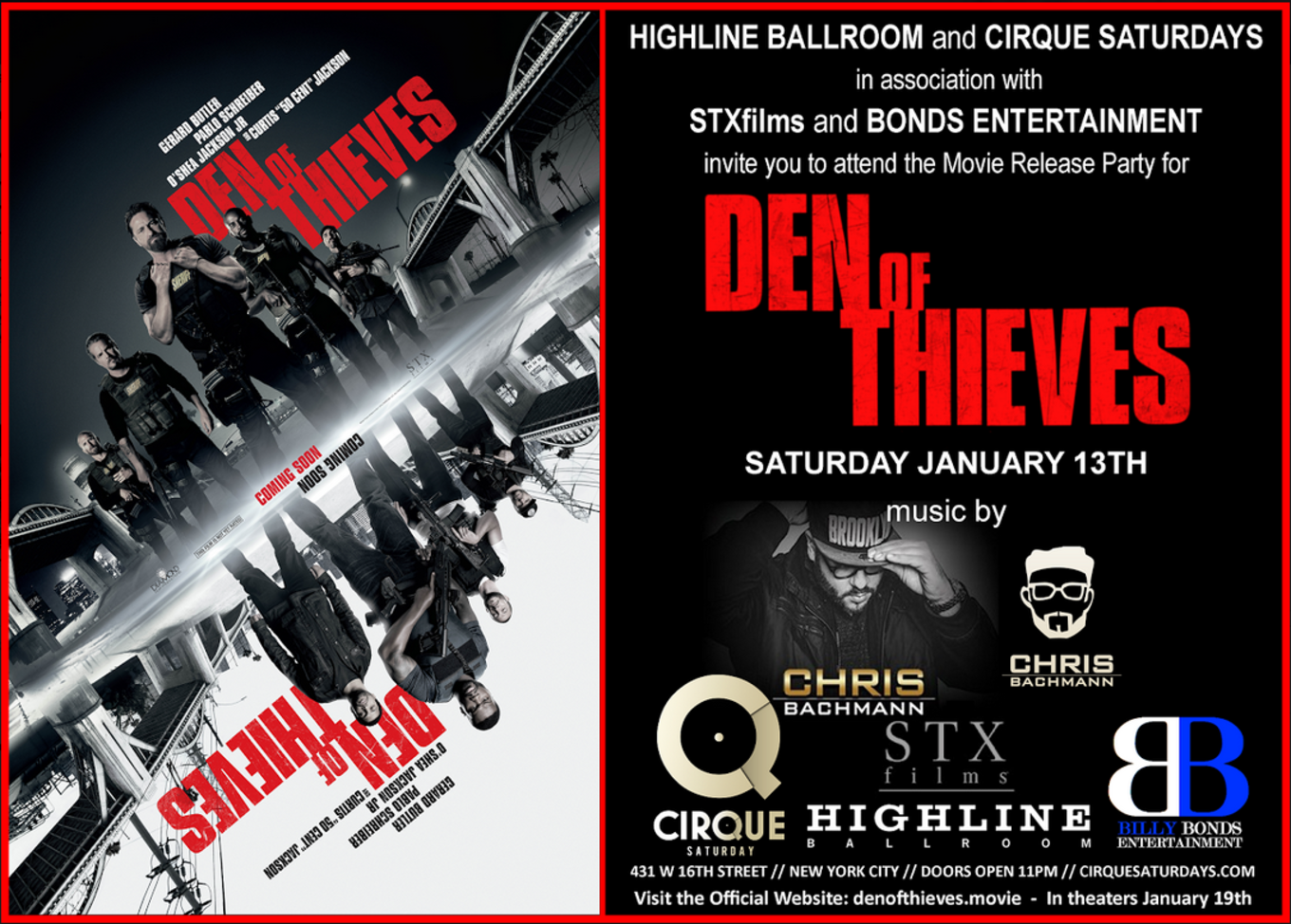Den of Thieves Movie Release Party at Highline Ballroom 1/13 ...