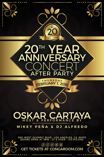 Conga Room presents 20 yr Anniversary After Concert Party