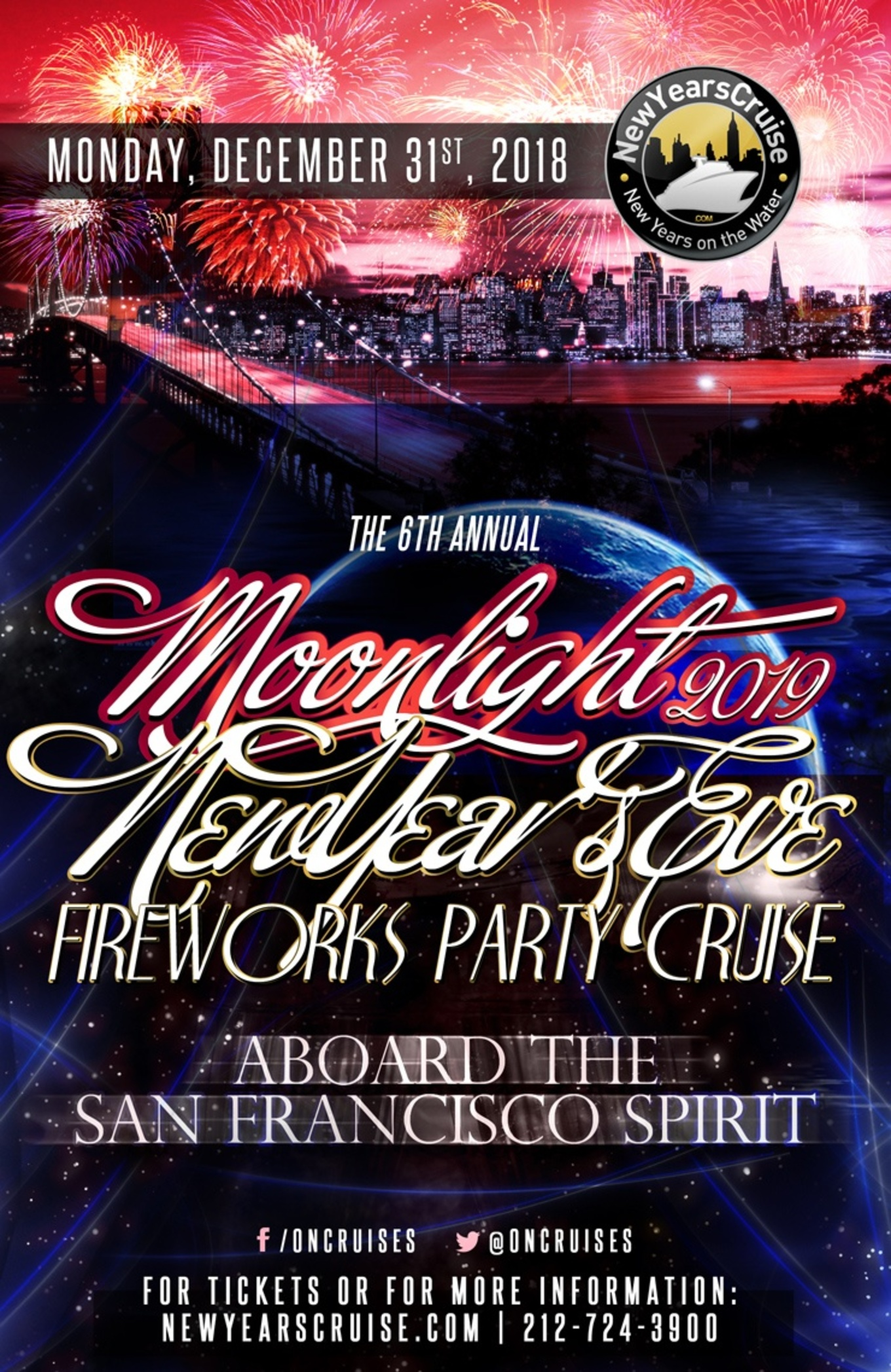 the 6th annual moonlight new year's eve fireworks party cruise