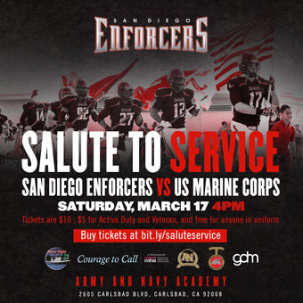 Salute to Service: San Diego Enforcers vs. US Marine Corps