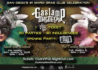 2019 San Diego Gaslamp Mardi Gras: (I) Friday, March 1 (II) Saturday, March 2 (III) Fat Tuesday, March 5