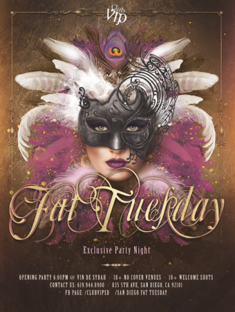 2019 San Diego Fat Tuesday Masquerade Tues. March 5