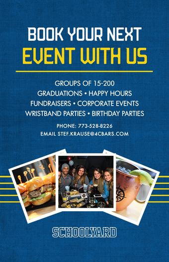 Book Your Next Event With Us at Schoolyard!