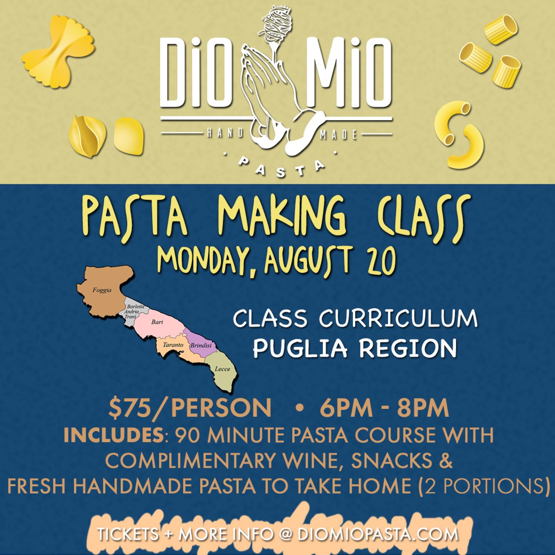Dio Mio Monday School [Pasta Making - August] - Tickets - Dio Mio