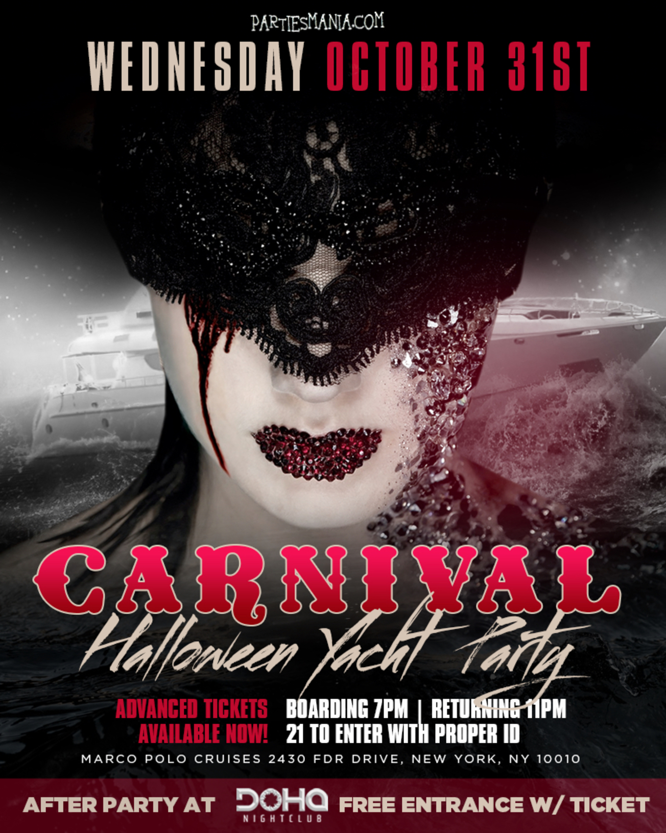 carnival halloween yacht party - tickets - october 31, 2018