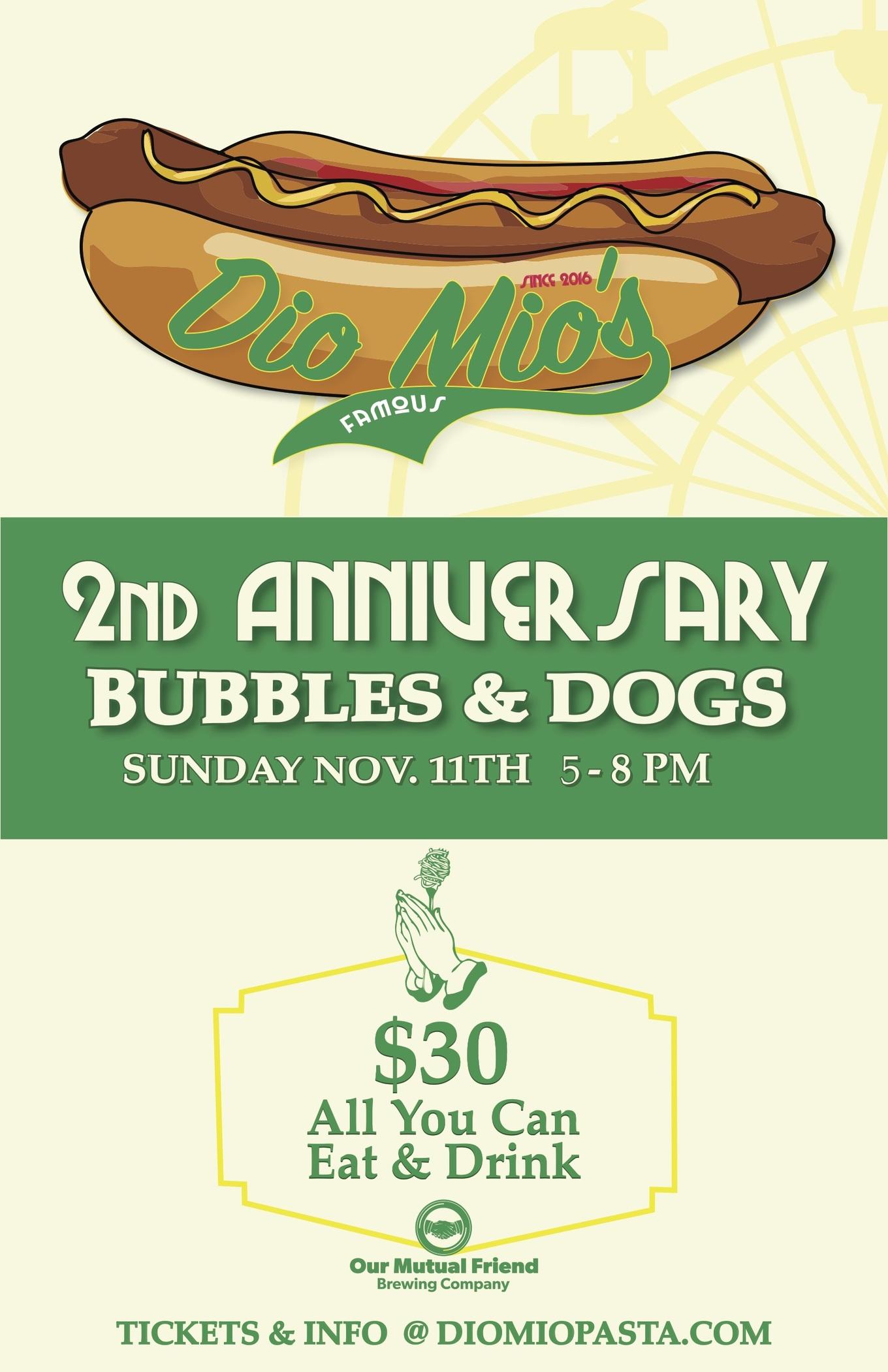 Hot Dogs + Bubbles (Dio Mio's 2nd Anniversary) - Tickets - Dio Mio
