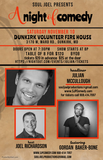 Maryland:  Comedy Show at Dunkirk Volunteer Fire Department