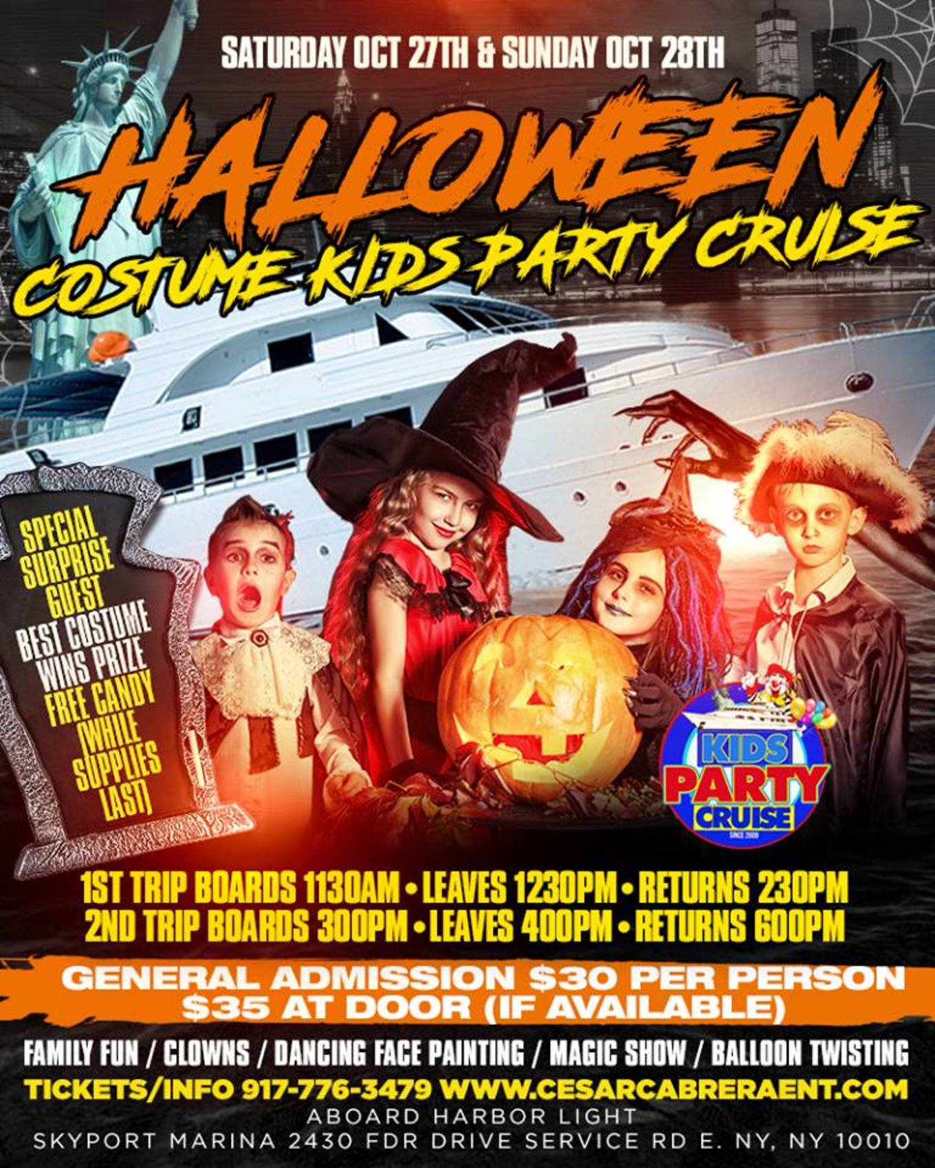 d547763c9 Halloween Costume Kids Party Cruise (3:00pm-6:00pm) - Tickets - Skyport  Marina, New York, NY - October 27, 2018
