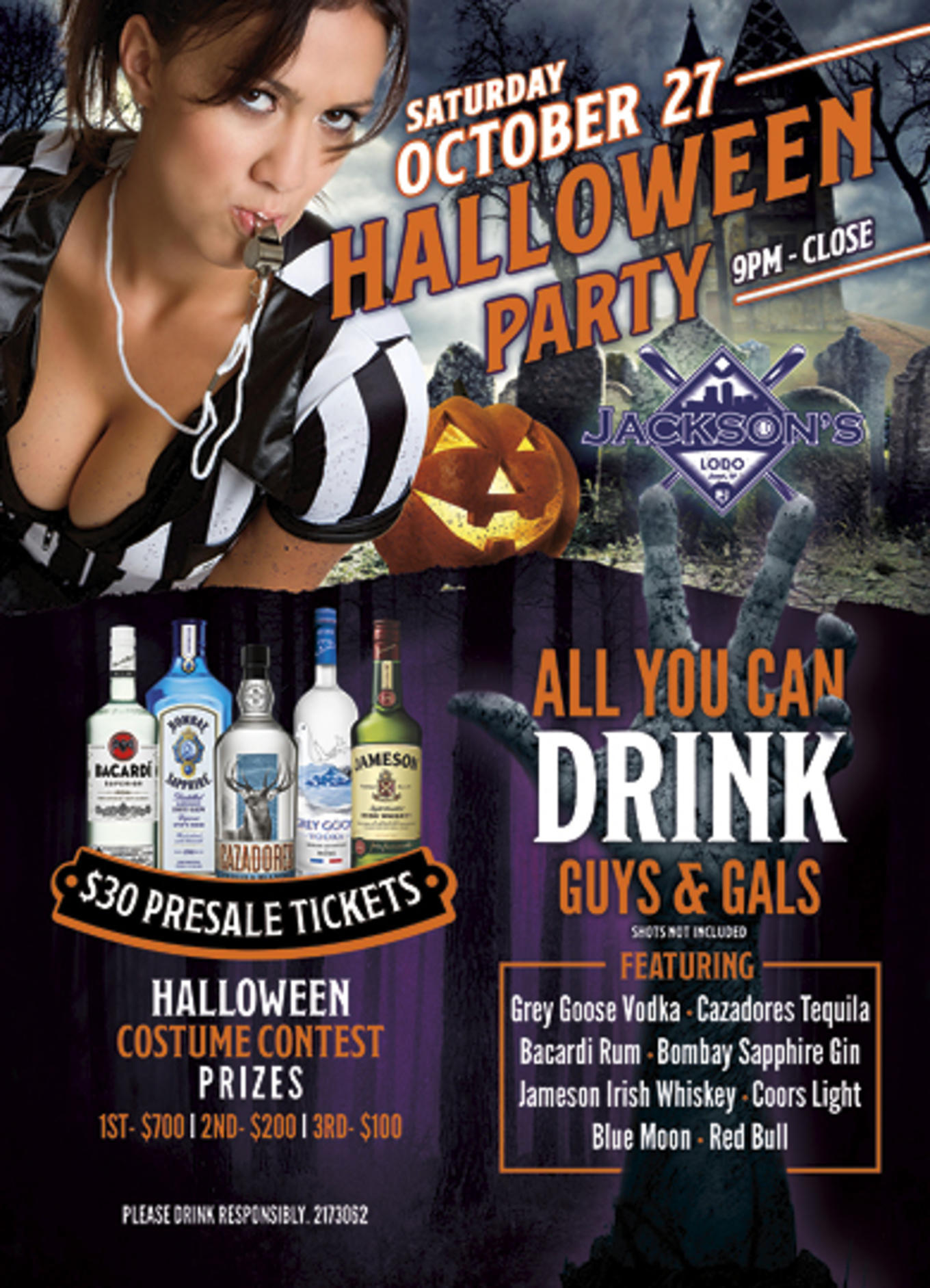 jackson's halloween party! - tickets - jackson's downtown, denver