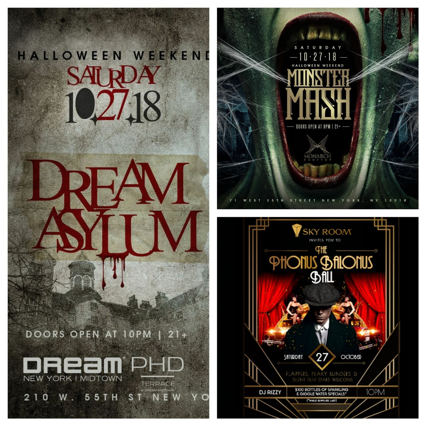saturday halloween rooftop party pass to 3 venues