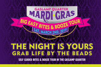 Gaslamp Mardi Gras Big Easy Bites & Booze Tour