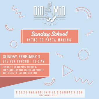 Dio Mio Sunday School [Intro to Pasta Making - February]