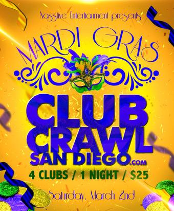 Mardi Gras Club Crawl San Diego